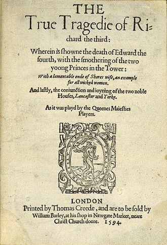 The True Tragedy of Richard III - Image: The True Tragedy of Richard the Third