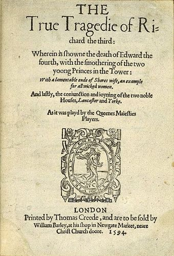 Cover of the 1594 quarto of The True Tragedy of Richard III The True Tragedy of Richard the Third.jpg