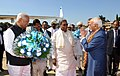 The Vice President, Shri M. Hamid Ansari being bid farewell by the Governor of Karnataka, Shri Vajubhai Vala and the Chief Minister of Karnataka, Shri Siddaramaiah, in Bengaluru on December 27, 2016.jpg