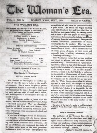 Josephine St. Pierre Ruffin - Front page of The Woman's Era, September 1894