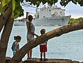 The amphibious dock landing ship USS Rushmore (LSD 47) transits to Joint Base Pearl Harbor-Hickam, Hawaii, June 27, 2014, to participate in exercise Rim of the Pacific (RIMPAC) 2014 140627-N-WF272-047.jpg