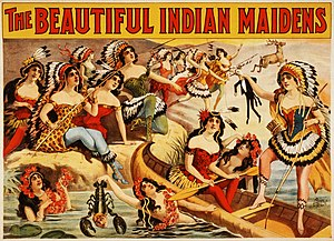 "1899 in the United States - ""The beautiful Indian maidens"", promotional poster, ca. 1899"