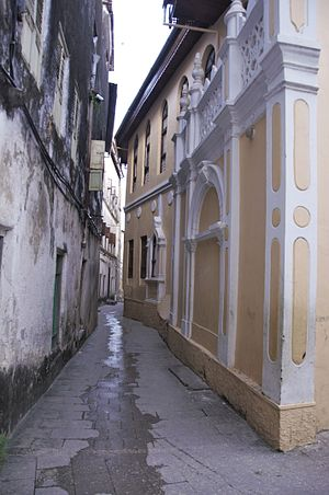 The narrow alley in the stone city of Zanzibar