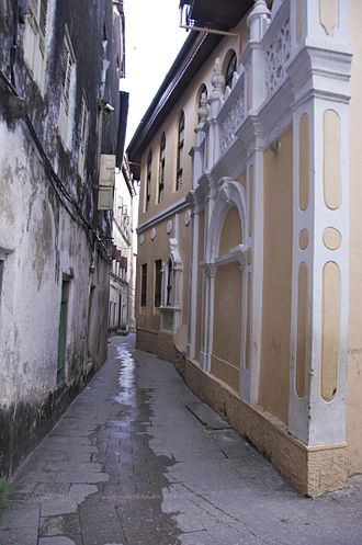 Zanzibar - The narrow alley in Stone Town, Zanzibar.