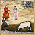 The wife of one of the vasus is tempted to steal the wish-bearing cow.jpg
