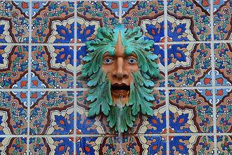 Malibu Potteries - Malibu Potteries tile and fountain, Adamson House, Malibu, California