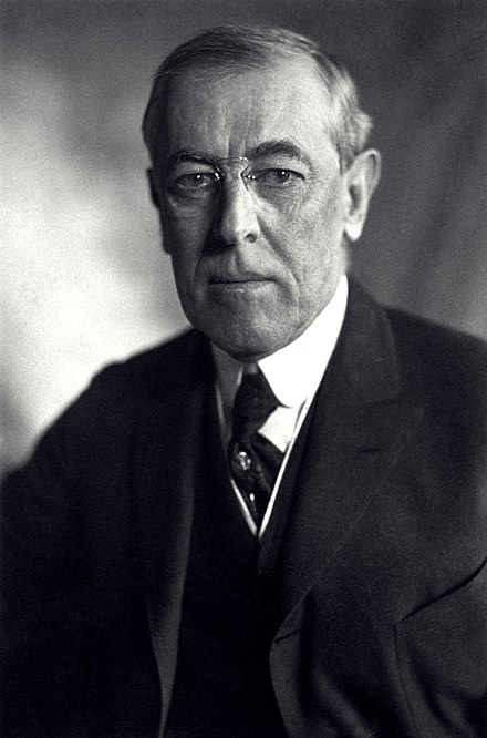 Woodrow Wilson, President of the United States Thomas Woodrow Wilson, Harris & Ewing bw photo portrait, 1919.jpg