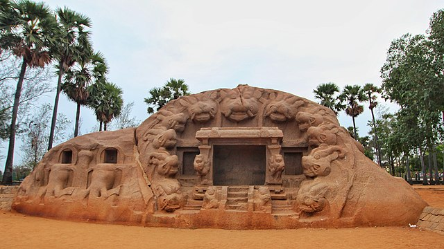 The Tiger cave with tiger head carvings at the mouth of the cave Tiger Cave Mamallapuram.jpg