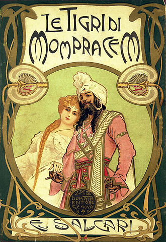 Emilio Salgari - Le tigri di Mopracem, 1900, cover illustration by Alberto Della Valle