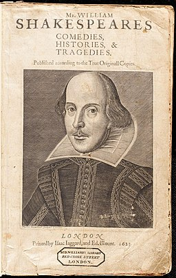 Title page of Dr Williams Library copy of Shakespeare's First Folio (1623)