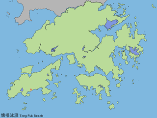 Tong Fuk Village and area on Lantau Island in Hong Kong