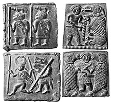 Black and white photograph of the four Torslunda plates. Counter-clockwise from bottom right, A, B, C and D (see text).