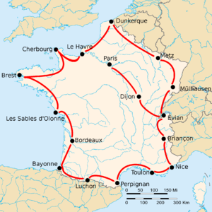 "Map of France with 17 cities shown, connected by red lines. Most of the shown cities are close to the border, except the ones labeled ""Dijon"" and ""Paris""."