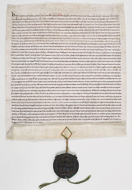 Treaty of Paris ratified in London on October 13, 1259 by Henry III, King of England, and Louis IX, sealed with the seal of Henry III in green wax on red and green silk cords. Traite Paris 1259.jpg