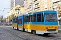 Tram in Sofia near Russian monument 022.jpg