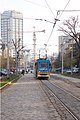 Tram in Sofia near Russian monument 035.jpg