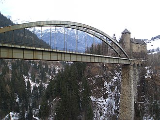 Arlberg railway - Trisanna bridge and Castle Wiesberg