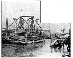 Trowse Bridge - The 1845 bridge, during removal