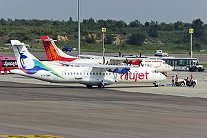 TruJet - A TruJet ATR 72-500 at Rajiv Gandhi Airport in Hyderabad