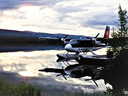 Twin Otter on the Mackenzie River near Normal Wells
