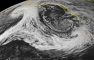 Cyclogenesis - Image: Two Low Pressure Systems, Northeastern Pacific
