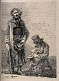 Two blind beggars, one stands with a placard around his neck Wellcome V0015891.jpg