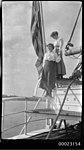 Two women on board E R STERLING, c 1913 (5059060598).jpg