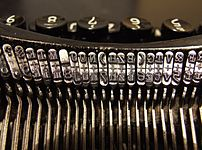 Types in a 1920s typewriter