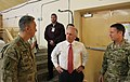 U.S. Army Maj. Gen. Scott Miller, right, introduces U.S. Sen. Bob Corker of Tennessee to Army Sgt. Maj. Tomas Sandoval July 7, 2013, at Camp Integrity, Afghanistan 130707-N-QV903-020.jpg