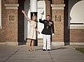 U.S. Marine Lt. Gen. George J. Flynn, Jr., right, and his wife, Sally, wave goodbye during Lt. Gen. Flynn's retirement ceremony at Marine Barracks Washington in Washington, D.C., May 9, 2013 130509-M-KS211-254.jpg