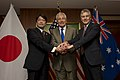 U.S. Secretary of Defense Chuck Hagel, center, meets with Japanese Minister of Defense Onodera Itsunori, left, and Australian Minister of Defense Stephen Smith, right, at the Shangri-La Hotel in Singapore 130601-D-BW835-1159.jpg