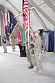 U.S. Soldiers assigned to 3rd Brigade Combat Team (BCT), 101st Airborne Division present their colors at Forward Operating Base Salerno in Khost province, Afghanistan, May 22, 2013 130522-A-CW939-018.jpg
