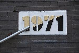 University City High School (Philadelphia) - UCHS 1971 cornerstone, painted in the school colors