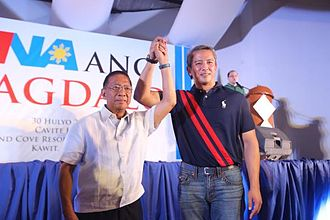 Jejomar Binay - Binay with Cavite Governor Jonvic Remulla during the signing of a coalition agreement between the United Nationalist Alliance and Partido Magdalo.