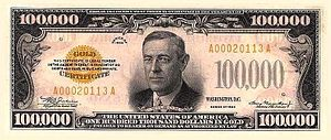 "$100,000 Gold Certificate, Obverse ""$100,..."