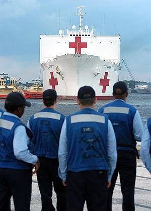 Joint Task Force Katrina - The USNS ''Comfort''  takes on supplies en route to aid victims of Hurricane Katrina.