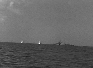 USS Corry (DD-463) - Two near misses from the shore batteries against USS Corry