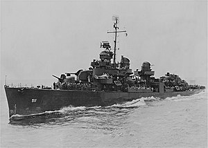 USS Foote (DD-511) underway at sea, circa in 1945