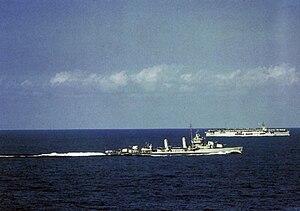USS Sangamon (CVE-26) - Sangamon and USS ''Hambleton'' in the Atlantic, 1942.