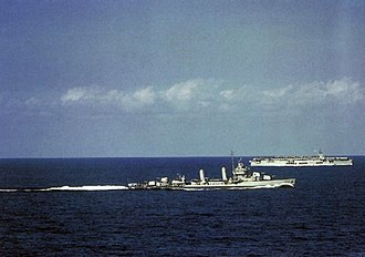 USS Sangamon (CVE-26) - Sangamon and USS Hambleton in the Atlantic, 1942.