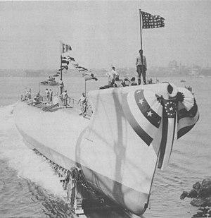 USS Walrus (SS-437) launching