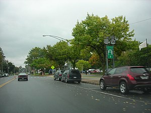 New York State Route 56 - US 11 and NY 56 along Market Street in Potsdam village, a wrong-way concurrency