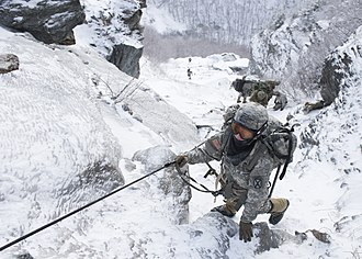 "Army Mountain Warfare School - Soldiers conduct the ""Mountain Walk,"" a culminating event for AMWS courses"