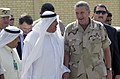 US Navy 030417-N-5362A-001 Gen. Tommy Franks, Commander, U.S. Forces Central Command (CENTCOM) and Lt General (retired) Ali Al-Mumin, head of Kuwait's Humanitarian Operations Center.jpg