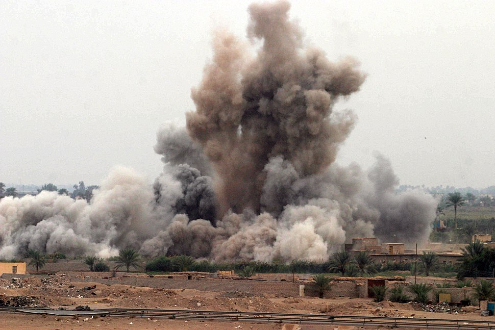 US Navy 041108-M-8205V-006 An air strike is called in on a suspected insurgent hideout at the edge of Fallujah, Iraq by U.S. Marines assigned K Company, 3rd Battalion, 5th Marine Regiment, 1st Marine Division, during the openin