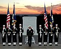 US Navy 041202-N-2147L-001 Sailors, assigned to the U.S. Navy's Ceremonial Guard, stand in formation in front of the Tomb of the Unknowns in Arlington National Cemetery, Va.jpg