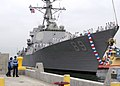 US Navy 050801-N-1577S-043 The Arleigh Burke-class guided missile destroyer USS Mustin (DDG 89) arrives at Naval Station San Diego.jpg