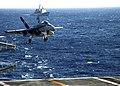 US Navy 060304-N-9585B-004 An F-A-18C Hornet prepare to land aboard the Nimitz-class aircraft carrier USS Dwight D. Eisenhower (CVN 69).jpg