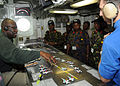 US Navy 100629-N-4236E-576 Sailors explain the Ouija board operation to distinguished visitors from East Africa and other coalition partner countries of U.S. Africa Command and Combined Joint Task Force, Horn of Africa.jpg