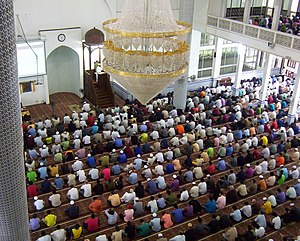 Friday - Muslim Friday prayer at a mosque in Malaysia